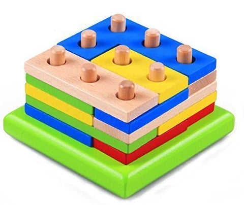 WISDOMTOY 3D Wood Brain Teaser Colorful Geometric Blocks Stacker Assembly Shape Puzzle Toy for Kids
