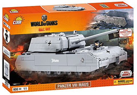 World of Tanks, COBI 3024, SDKFZ 205 PZKF VII MAUS, Small Army Model Kit, 900 building bricks