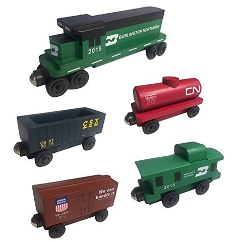 Burlington Northern RAILWAY GP-38 Diesel 5pc. Set - Wooden Toy Train by Whittle Shortline Railroad - Manufacturer
