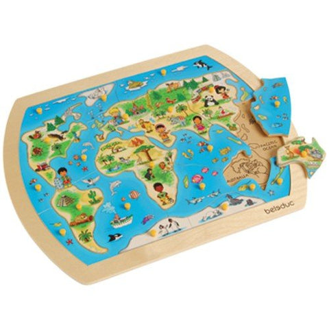 Constructive Playthings Bel-101 Match The World 22 Pc. Wooden Knobbed Jigsaw Puzzle
