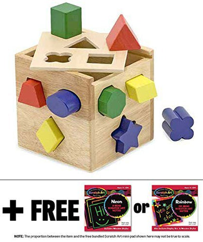 Wooden Shape Sorting Cube Classic Toy + FREE Melissa & Doug Scratch Art Mini-Pad Bundle [05753]