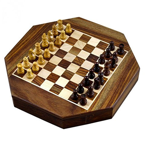 Zap Impex  Wooden magnetic chess Octangle ChessMen Set Wooden Board Travel Games 9 Inches