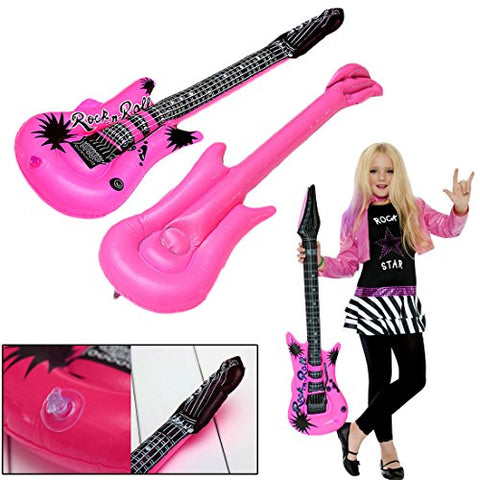 Inflatable Large Rock Guitars 42 Inches (107 Centimeter) Kids Pool Party, Music Themed Party Favor Set of 12