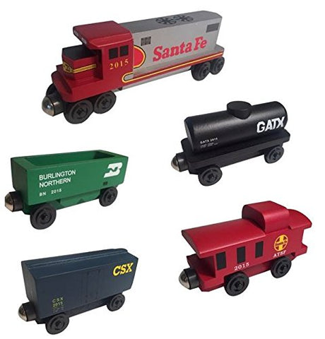 Santa Fe Warbonnet RAILWAY GP-38 Diesel 5pc. Set - Wooden Toy Train by Whittle Shortline Railroad - Manufacturer
