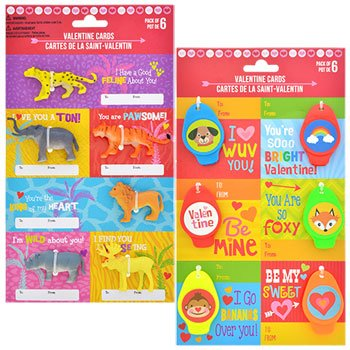 Valentines Day Classrooms Cards with Toys 12 pcs