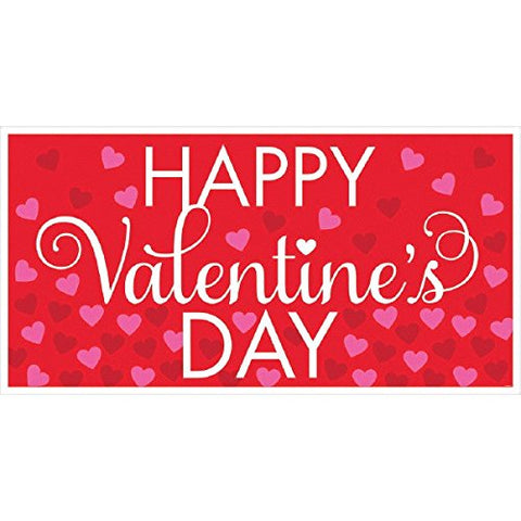 Valentine's Day Large Horizontal Greeting Banner Wall Decoration, Red/Pink, 65  x 33.5