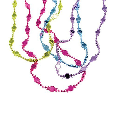 Lot Of 12 Assorted Metallic Colors Wrapped Candy Theme Beaded Necklaces