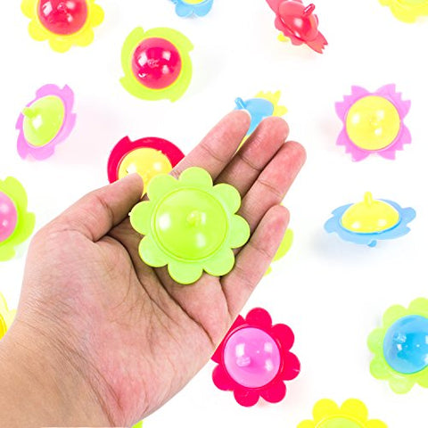 Mini Hand Finger Spinner Tops Twisting Plastic Flower Prize Toys for Children Birthday Party Favors  by Super Z Outlet