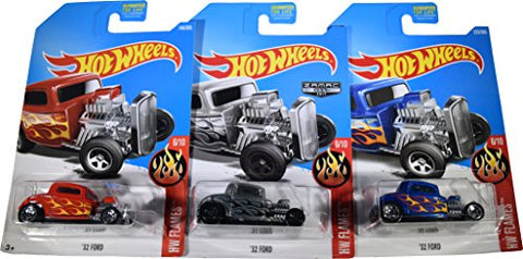 Hot Wheels 2017 HW Flames '32 Ford 6/10, Set of 3 Cars: Blue, Red & Zamac