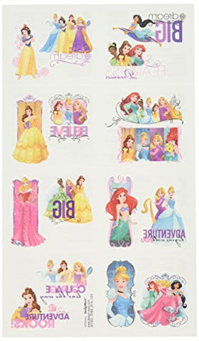Amscan Disney Princess Dream Big Birthday Party Temporary Tattoos Favor, Multicolor, 2  x 1 3/4