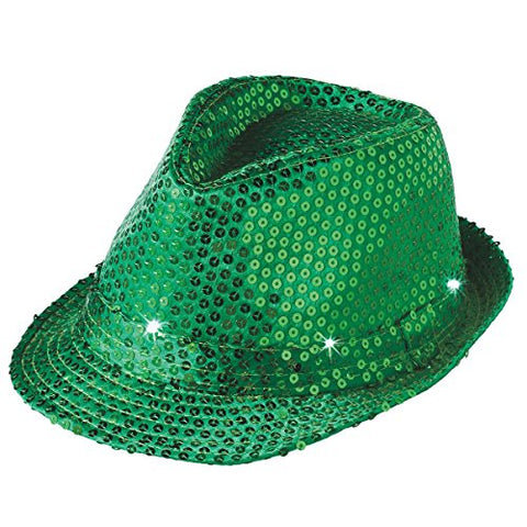 St. Patrick's Day Sequin LED Light Up Flashing Fedora Party Hat, Green, One Size, 10  x 5.5  x 9