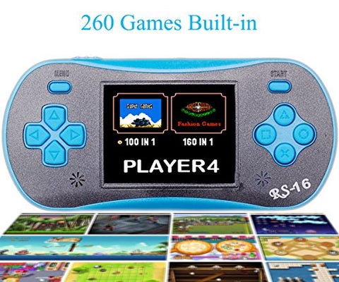 QINGSHE Hand Held Games for Kids , Handheld Game Console 2.5  LCD 260 Games Portable Video Game Player ,Good Gifts for Children -Blue