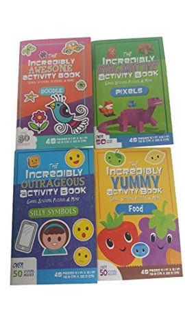 Incredible Activity Books Kids 4 Item Bundle Includes Imaginative Awesome Yummy Outrageous