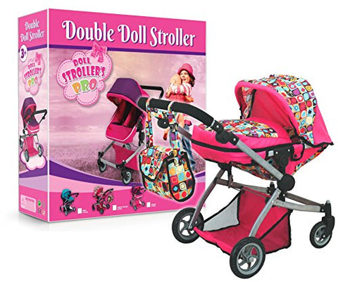Deluxe Double Jogger Doll Twin Stroller Adjustable Handle High Quality Strollers