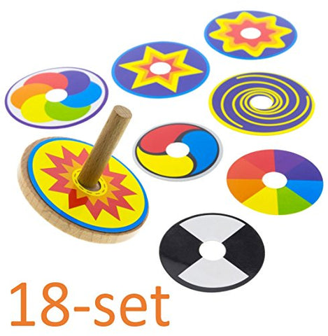 Wooden Spinning Top For Kids, Set of 18: FUN & EDUCATIONAL Toy. 2x Spin Top + 16 Colorful Rings. Spins 1-2 Min. Perpetual Motion Gift for Children 2, 3, 4, 5, 6 Year Old. No battery needed. No plastic