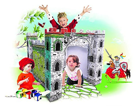 My Little Castle Cardboard Playhouse - Large Corrugated Color In Coloring Play House for Kids -3 x 3 x 3 Feet - Easy Assembly, Fast Fold - by Spiritoy