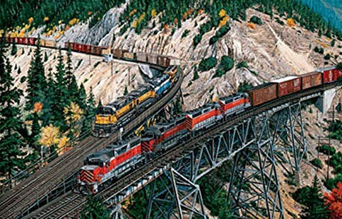 Railroad Jigsaw Puzzle - Union Pacific & Western Pacific At Keddie Wye