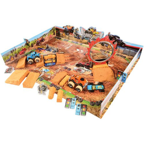 4 x 4 Monster Truck Playset with Sand, 2 Friction Powered Monster Trucks and 36 piece Super Stunt Stadium Puzzle