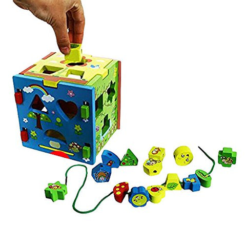 Toy Cubby Toddler Baby Natural Wooden Shape and Color Sorter Cube Non Toxic Paint