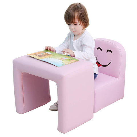 Emall Life Multifunctional 2In1 Children'S Armchair Kids Wooden Frame Chair And Table Set Cpsc Certified Boys And Girls Armrest Chair Easy To Clean (Pink)
