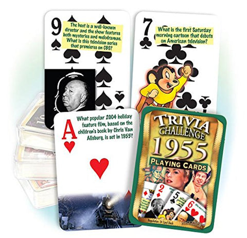 Flickback 1955 Trivia Playing Cards: Great Birthday or Anniversary Gift