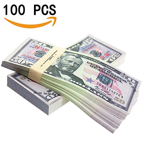 YooQn Play Money $5,000 Full Print New Style Money Copy of $50 Dollar Bills  Stack, in Authentic Bank Strap