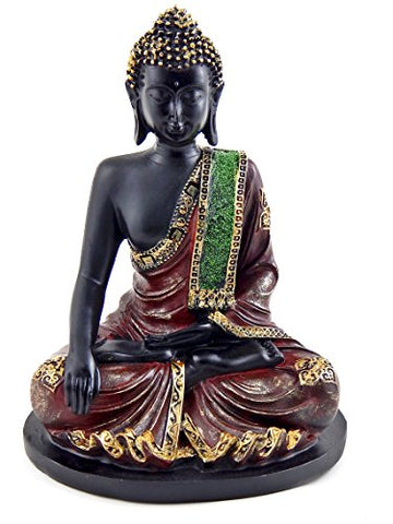 #1 Black Buddha Statue With Mosaic Design On A Base - 10 Inches High