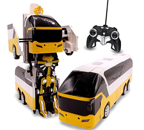 RC Toy Transforming Robot Remote Control (27 MHz) Bus with 1 Button Transformation, Realistic Engine Sounds and 360 Speed Drifting 1:14 Scale (Yellow)