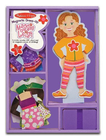 Maggie Leigh - Magnetic Dress Up Wooden Doll & Stand + FREE Melissa & Doug Scratch Art Mini-Pad Bundle [35521]