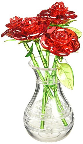 BePuzzled Original 3D Roses in a Vase Crystal Puzzle