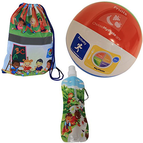 Fresh Baby Kid's Get Active Set with Gym Bag/Water Bottle & Beach Ball (3 Piece)