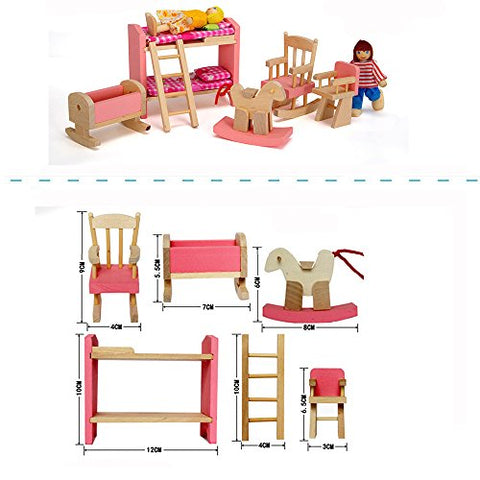 Wood Family Doll Dollhouse Furniture Set Pink Miniature Bathroom