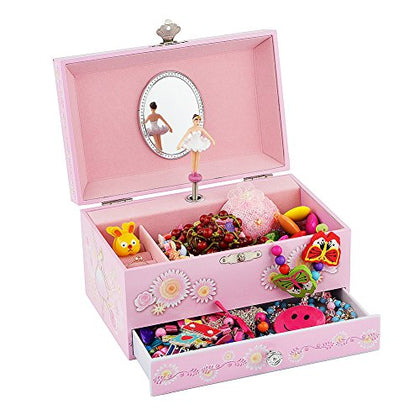 Ballerina Music Jewelry Box with Melody is  Swan Lake  Pink