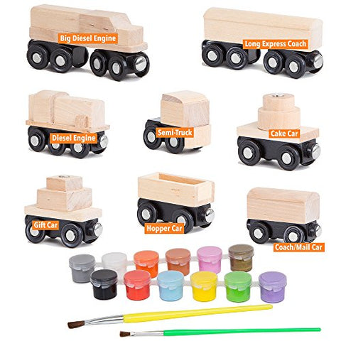 Orbrium Toys 8 Unpainted Train Cars for Wooden Railway Compatible with Thomas, Chuggington, Brio, 10 Pieces, Great for Birthday Party Train Theme