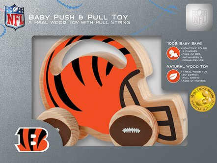 Masterpieces Nfl Cincinnati Bengals Natural Wood, Non-Toxic, Bpa, Phthalates, & Formaldehyde Free, Push & Pull Toy With Cotton String