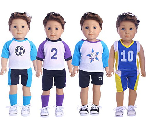 LuckDDoll Doll Clothes Sports 4 Pcs Set Fit for 18 inch American Girl Boy Dolls Such as logan boy doll