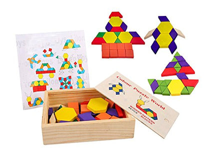 Lewo 60-pieces Wooden Pattern Blocks Montessori Tangram Puzzle Toys