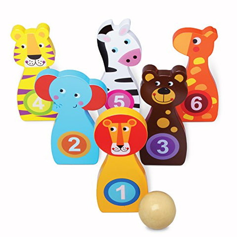 Kids Bowling Set Wooden Toys - Bowling Set for Kids with 6 Wood Animal Bowling Pins and Mini Wood Bowling Ball