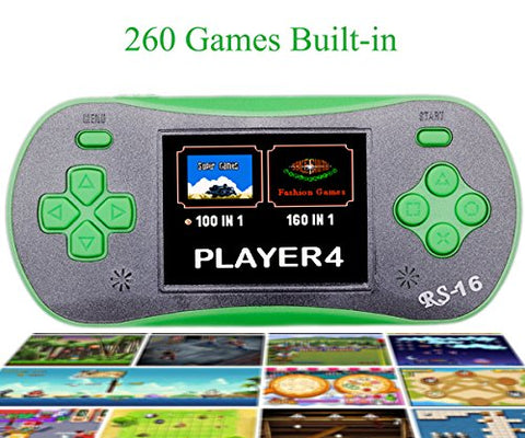 QINGSHE Hand Held Games for Kids , Handheld Game Console 2.5  LCD 260 Games Portable Video Game Player ,Good Gifts for Children -Green