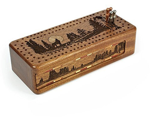 Wolf -Grey Wolf- Gray Wolf Engraved Wooden Cribbage Board with Quality Metal Pegs and Decks of cards