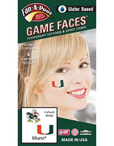 University of Miami (UM) Hurricanes  Water Based Temporary Spirit Tattoos  4-Piece  2 Sebastian Ibis & 2 Green/Orange/White U Logo