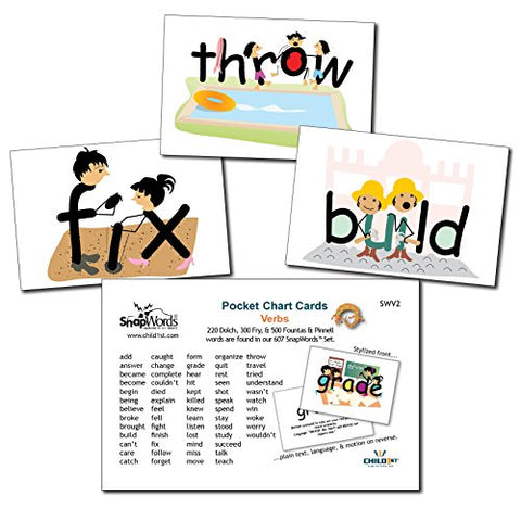 Snapwords Verbs Pocket Chart Sight Word Cards