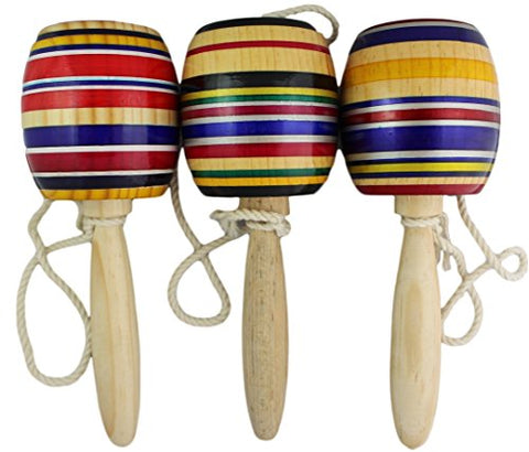 Wooden Baleros Made in Mexico Premium Quality (3 Pack, Assorted Colors)
