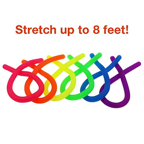[Figit] Neon Stretchy String Fidget Toys, JINSEY Anti-Anxiety Squishy Sensory Toys - Stretches from 10 Inches to 8 Feet - Best Stress Reducer Relieves ADD ADHD and Boredom