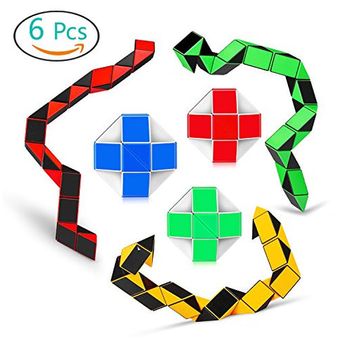 Magic Snake Cube Twist Puzzle Collection of 6 Fun Snake Toys Kids Magic Sets for Children 24 Wedges - 3Pair - Ganowo