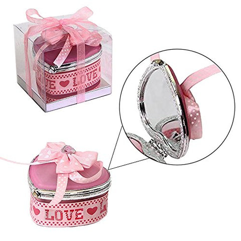 Toy Cubby Adorable Kids Pink Heart Shaped Design Jewelry Box with Mirror on cover and 12 pieces Assorted Earrings