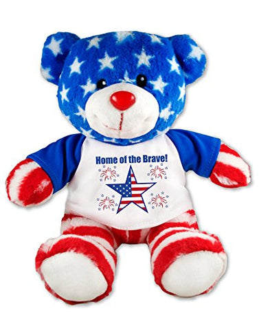 Home of the Brave Patriotic Teddy Bear Plush Message T-Shirt 9 Inches