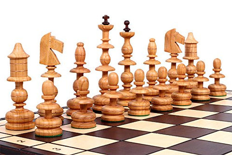 The Alcazar Chess Set - Unique Hand Crafted Wood Chess Pieces with a 5.5  King, 22.8  x 22.8  Wooden Chess Board that Folds for Chess Piece Storage