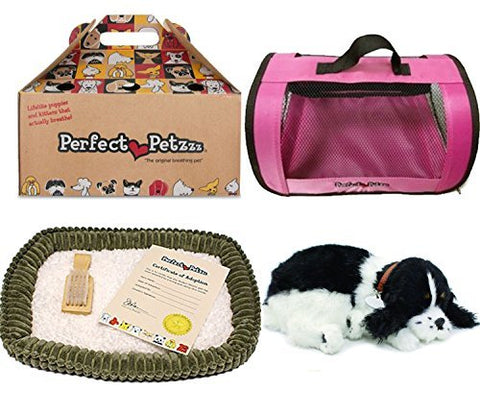 Perfect Petzzz Huggable Breathing Puppy Dog Pet Bed Cocker Spaniel with Pink Tote For Plush Breathing Pets