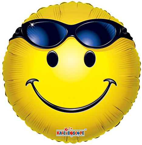 Kaleidoscope Emoji Smiley with Sunglasses Mylar Balloon, 5 Piece